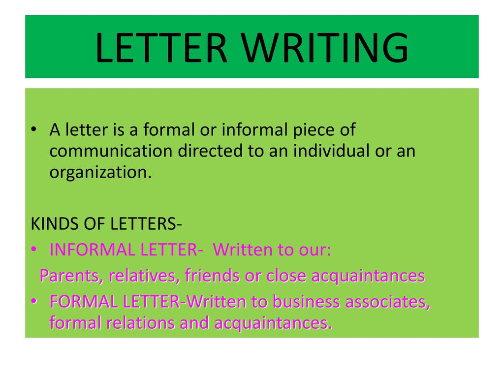 LETTER WRITING A Letter Is Formal Or Informal Piece Of