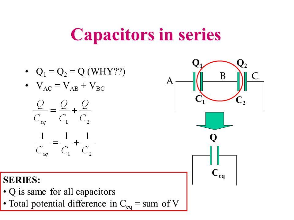 Capacitors in series A B C C1 C2 Q1 Q2 Q1 = Q2 = Q (WHY )