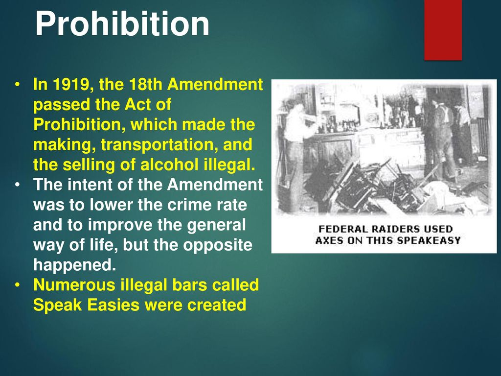reasons after the 18th amendment The 18th amendment to the constitution, ratified in 1921, prohibited the  manufacture and sale of intoxicating liquors within the united states when  roosevelt.