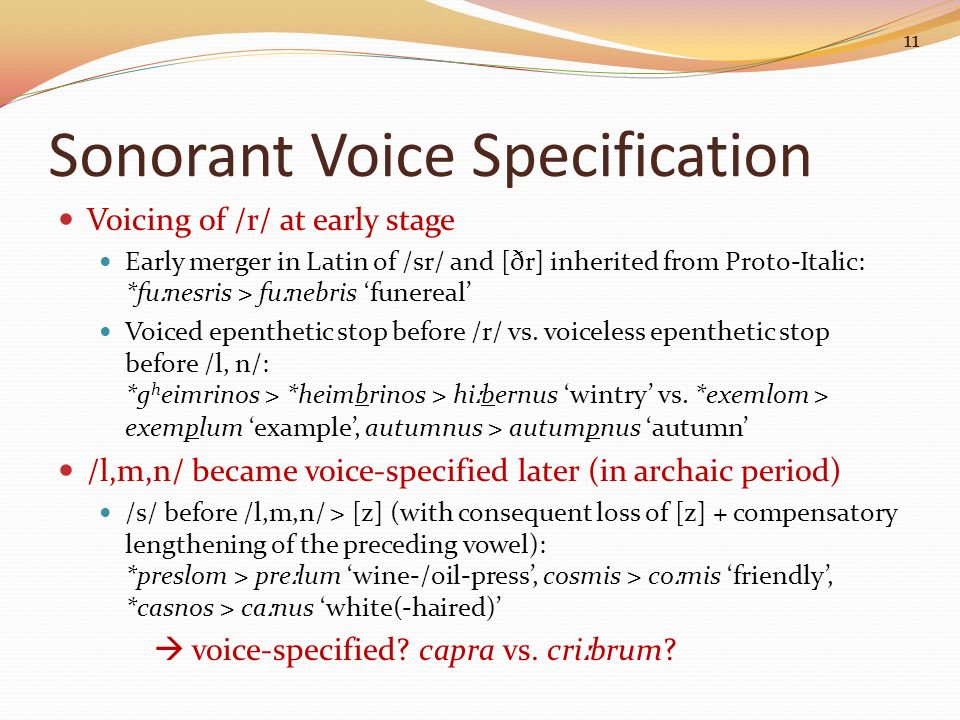 Sonorant Voice Specification