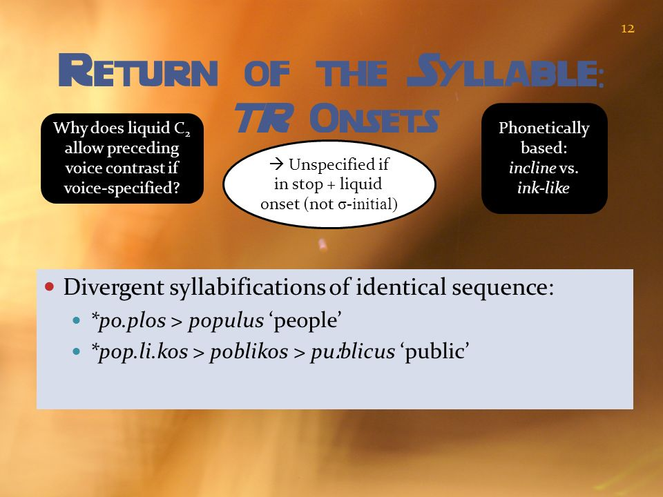 Return of the Syllable: TR Onsets