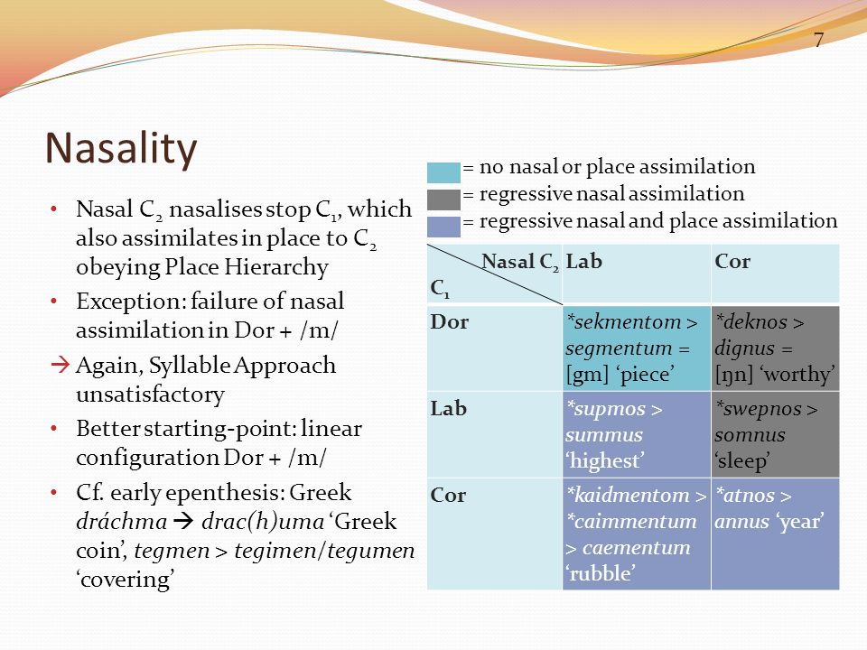 Nasality = no nasal or place assimilation. = regressive nasal assimilation.