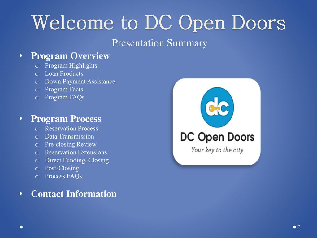 Dc Open Doors Lender Training Ppt Download