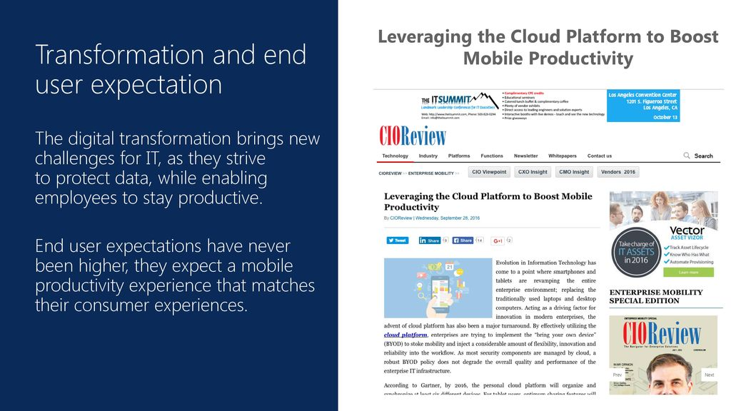 Leveraging the Cloud Platform to Boost Mobile Productivity