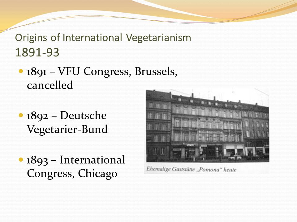 Origins of International Vegetarianism 1891-93