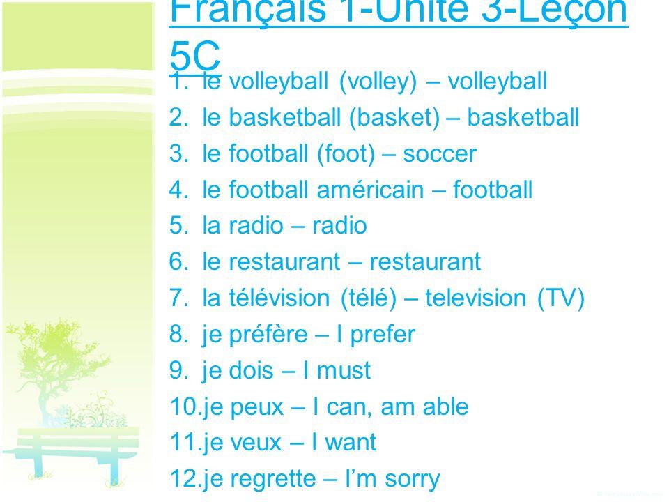 Français 1-Unité 3-Leçon 5C