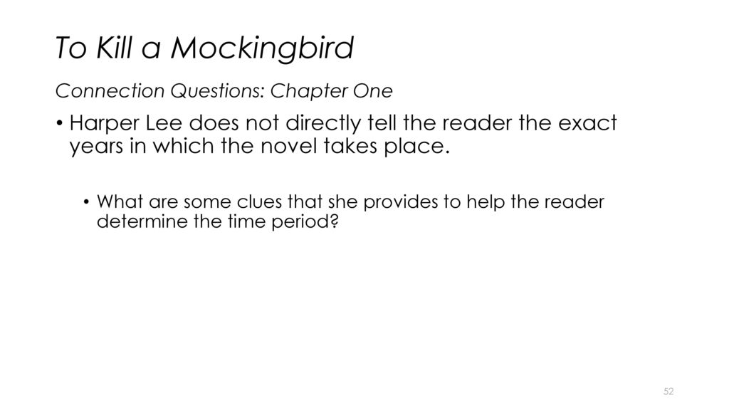 to kill a mockingbird chapter questions From a general summary to chapter summaries to explanations of famous quotes , the sparknotes to kill a mockingbird study guide has everything you need to  ace quizzes, tests, and essays  motifs, and symbols next: study questions.