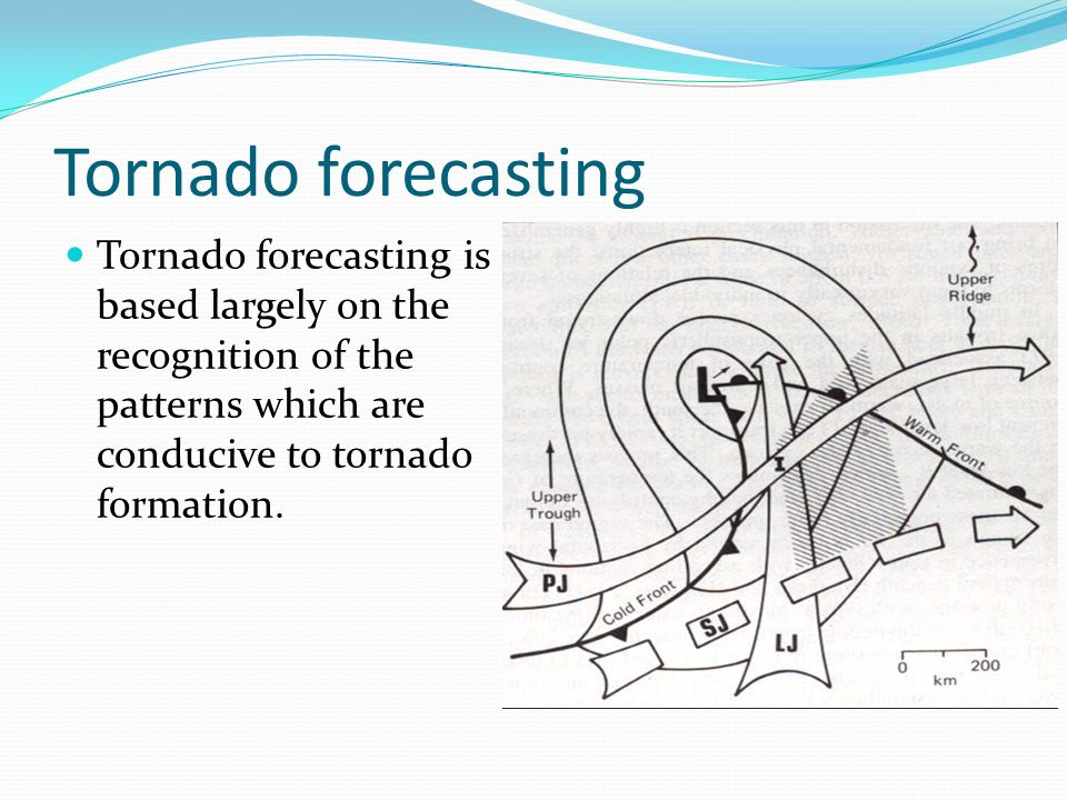 Tornado forecasting Tornado forecasting is based largely on the recognition of the patterns which are conducive to tornado formation.