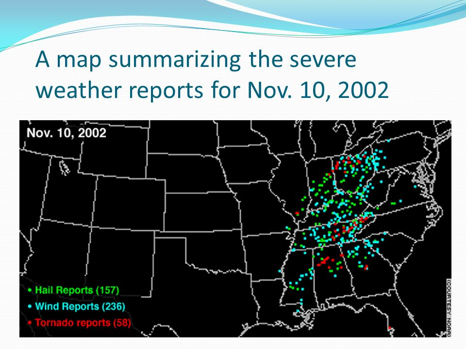 A map summarizing the severe weather reports for Nov. 10, 2002
