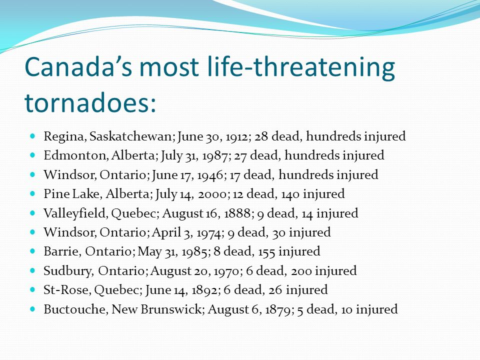 Canada's most life-threatening tornadoes:
