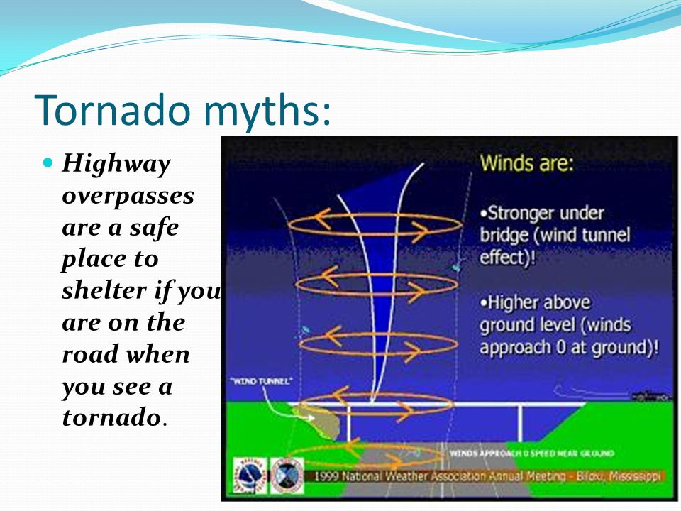 Tornado myths: Highway overpasses are a safe place to shelter if you are on the road when you see a tornado.