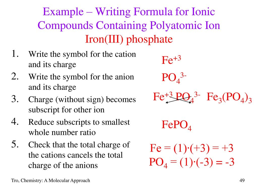 Chapter 3 molecules compounds and chemical equations ppt download example writing formula for ionic compounds containing polyatomic ion ironiii phosphate buycottarizona Image collections