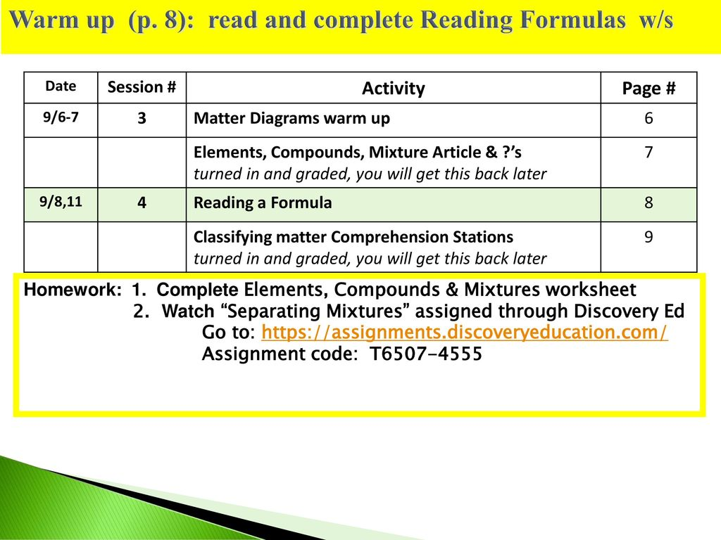 Warm up (p  8): read and complete Reading Formulas w/s