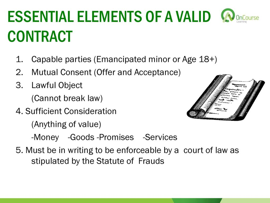 1. What are the basic requirements for making a valid contract?