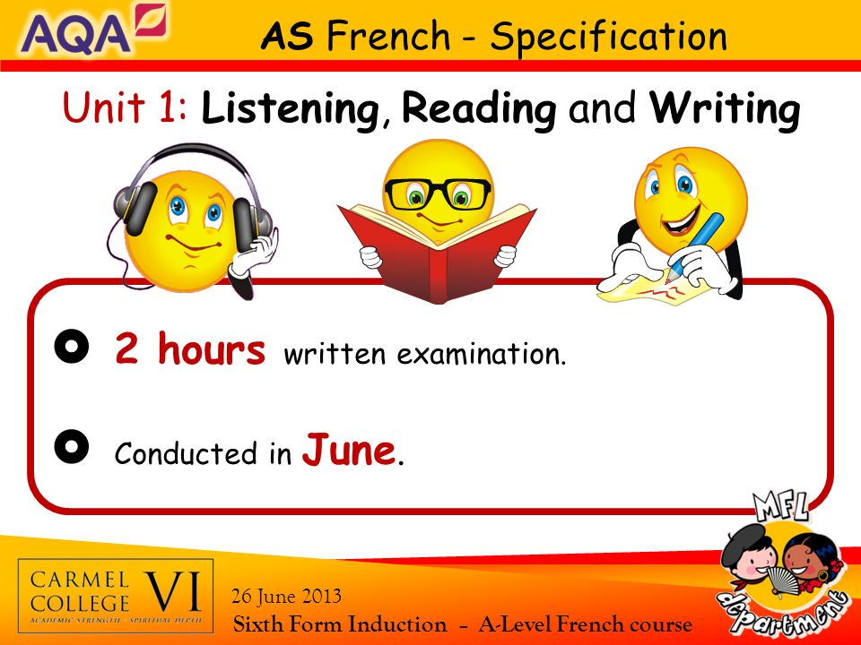  2 hours written examination.  Conducted in June.
