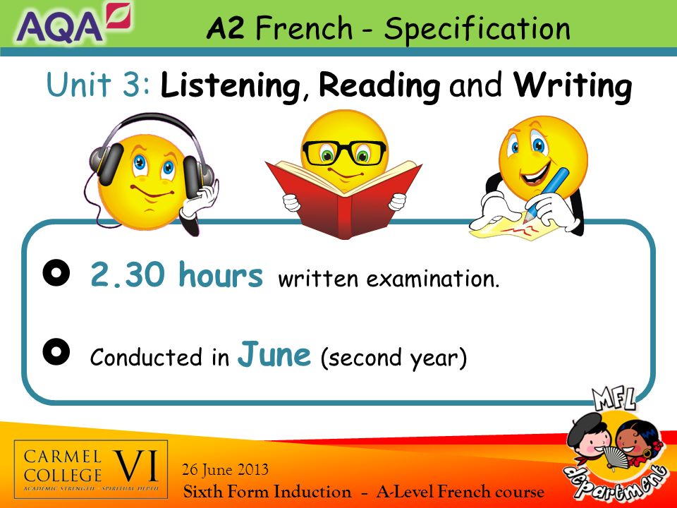  2.30 hours written examination.  Conducted in June (second year)