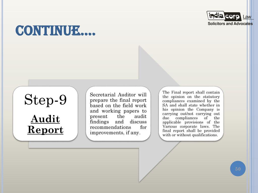 Secretarial audit presentation by a k kuchhal managing partner 50 step 9 continue platinumwayz