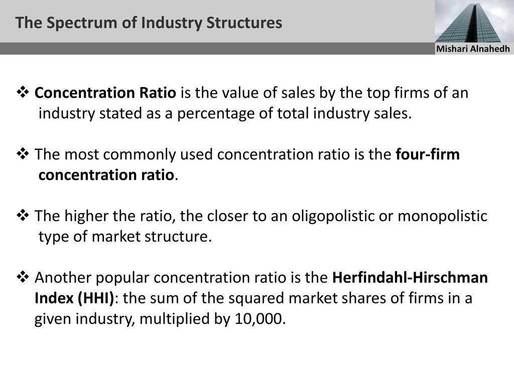 market structures on the spectrum of Definition of market structure: the interconnected characteristics of a market, such as the number and relative strength of buyers and sellers and degree of collusion among them, level and forms of competition, extent of product .