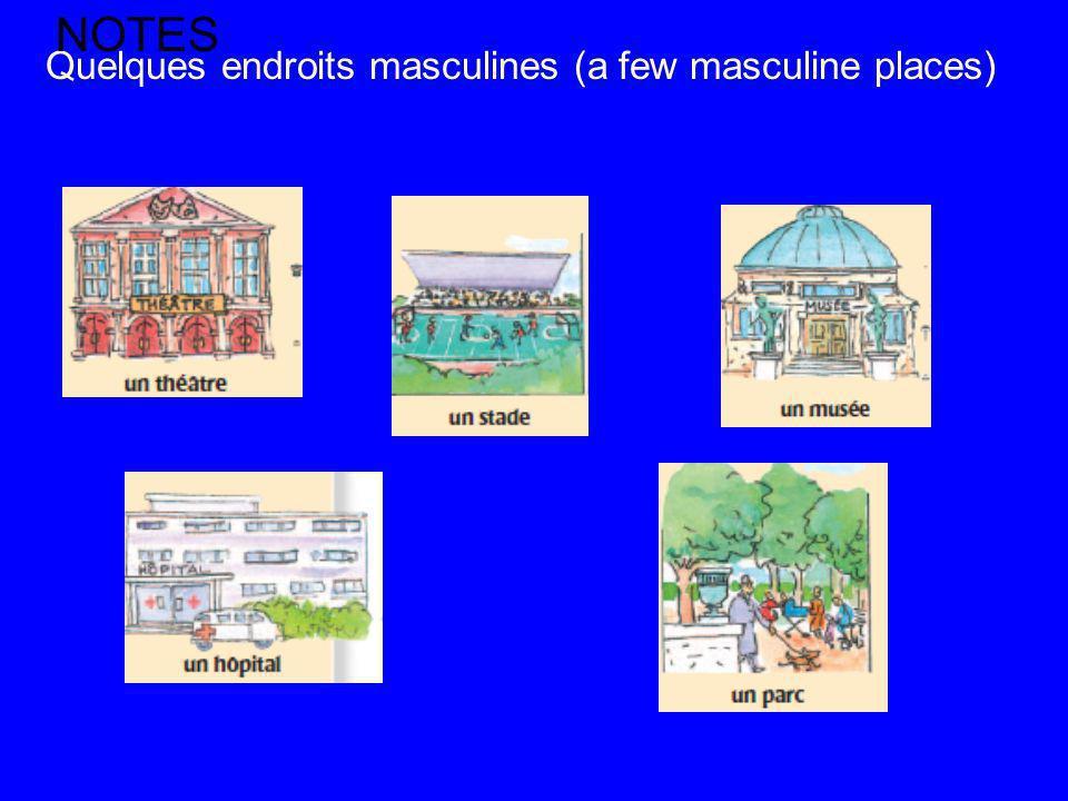 Quelques endroits masculines (a few masculine places)