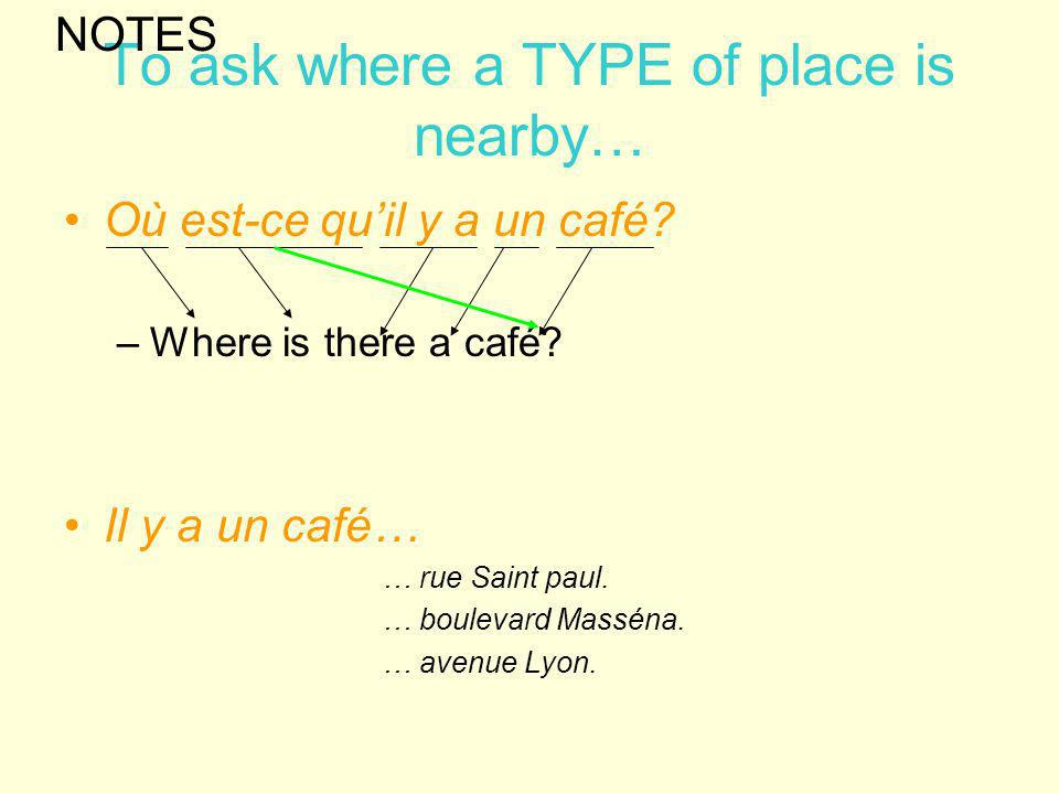 To ask where a TYPE of place is nearby…