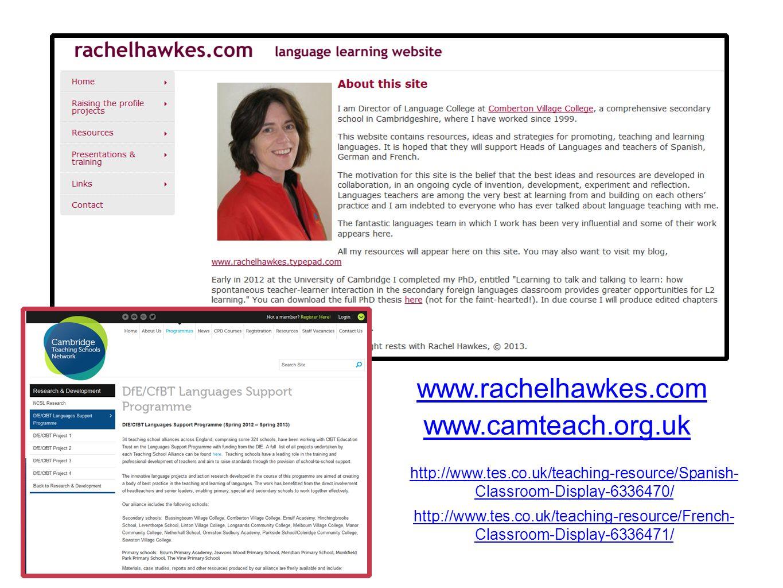 www.rachelhawkes.com www.camteach.org.uk