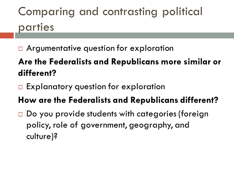Comparing and contrasting political parties