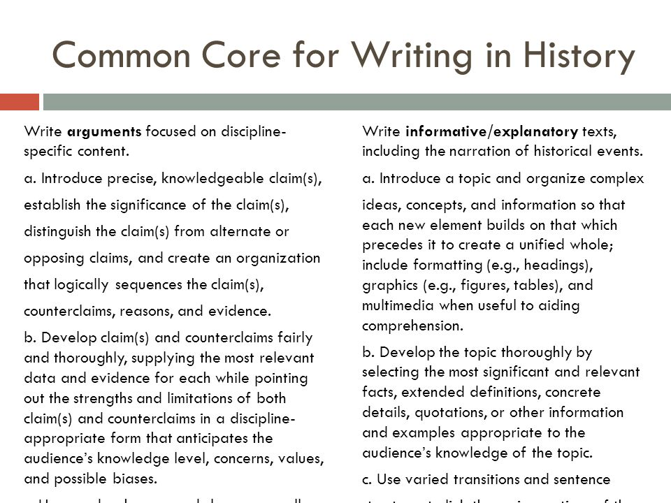 Common Core for Writing in History