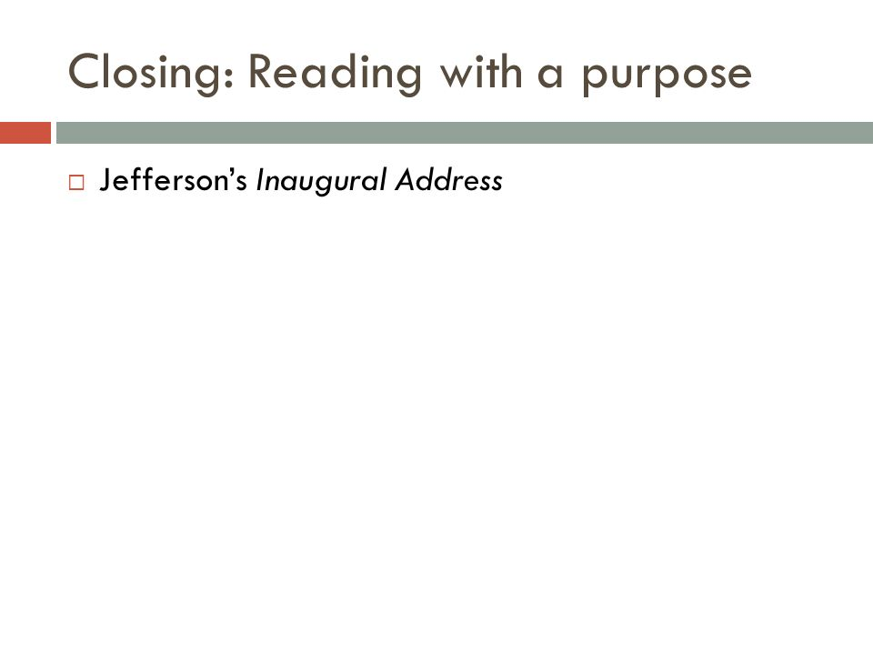 Closing: Reading with a purpose