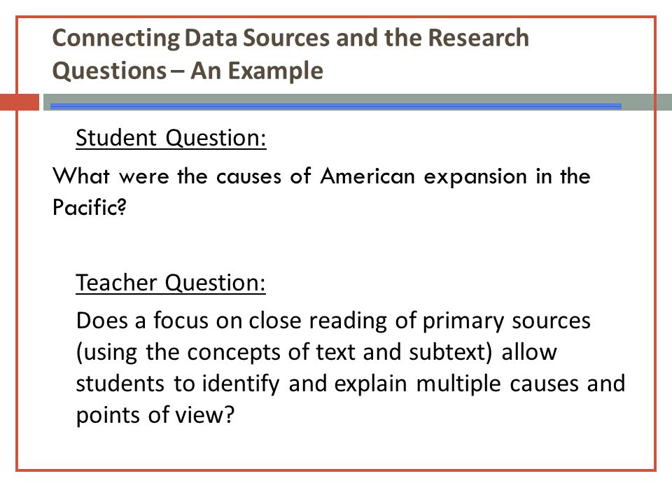 Connecting Data Sources and the Research Questions – An Example