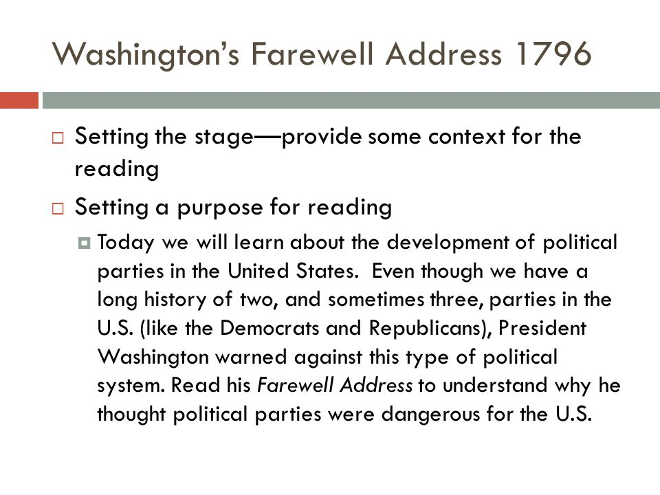 Washington's Farewell Address 1796