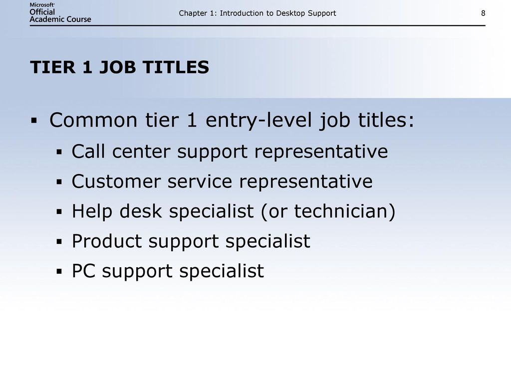 Chapter 1 Introduction To Desktop Support 9 Tier 2 And Higher Job Requirements