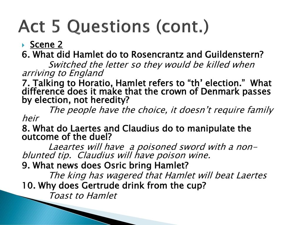 hamlet study guide act i act v essay Hamlet learning guide: perchance to pass to study scene 7 act 5, scene 1 act 5, scene 2 essay teaching hamlet current events & pop culture challenges.