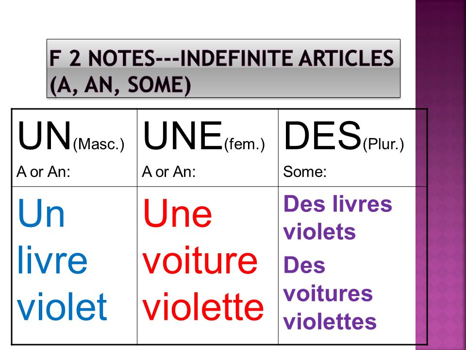 F 2 NOTES---INDEFINITE ARTICLES (A, AN, SOME)