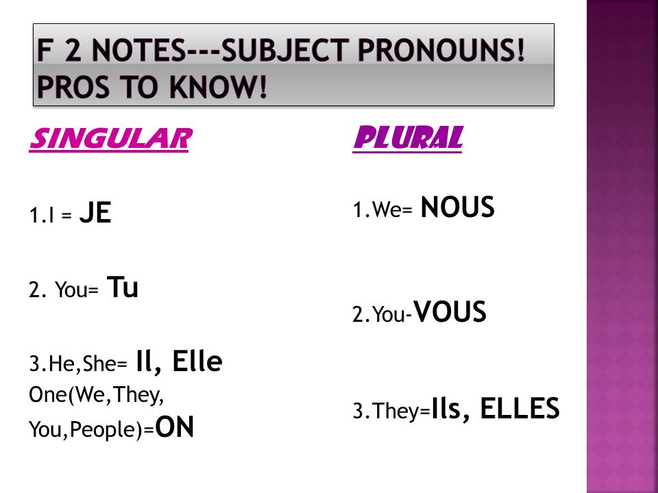 F 2 NOTES---SUBJECT PRONOUNS! Pros to know!
