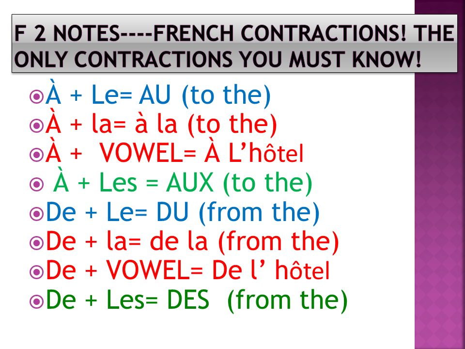 F 2 NOTES----FRENCH CONTRACTIONS! The only contractions you must know!