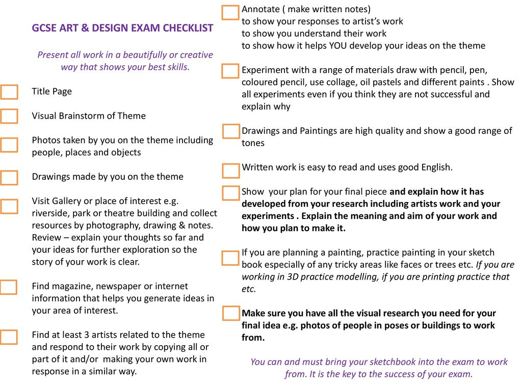 Gcse art design exam checklist ppt video online download for How to find a good builder in your area