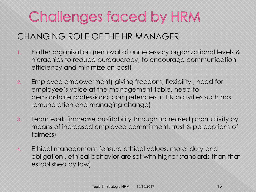 challenges faced by management Human resource management (hrm) is adopted by many companies because of its benefits but at the same time, various challenges and issues may emerge in front of managers of human resource department while performing their duties.