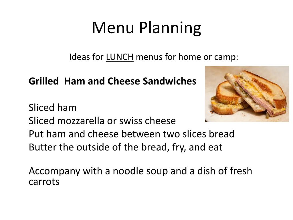 MENU PLANNING (Requirements 5, 6, and 7) - ppt download