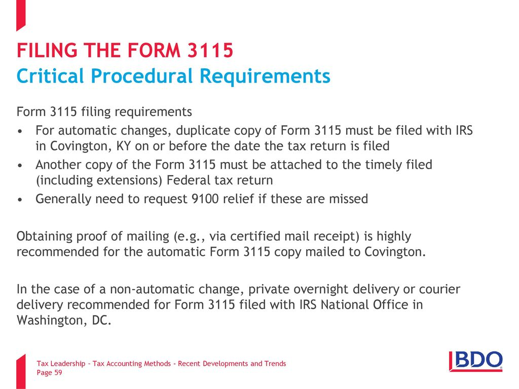 Tax accounting methods recent developments and trends ppt download filing the form 3115 critical procedural requirements falaconquin