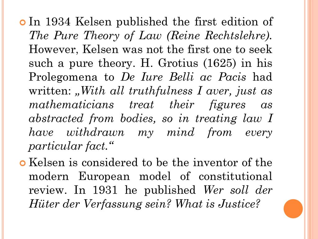kelsen s pure theory of law 1952] hans kelsen and his pure theory of law edwin w patterson r hans kelsen's formal retirement from his professorship at the end of the current university year will mark another.