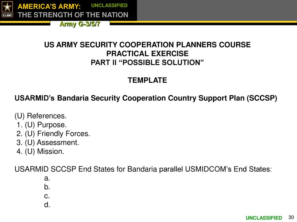 ARMY SECURITY COOPERATION PLANNERS COURSE FOR US ARMY PACIFIC - Army lesson plan template