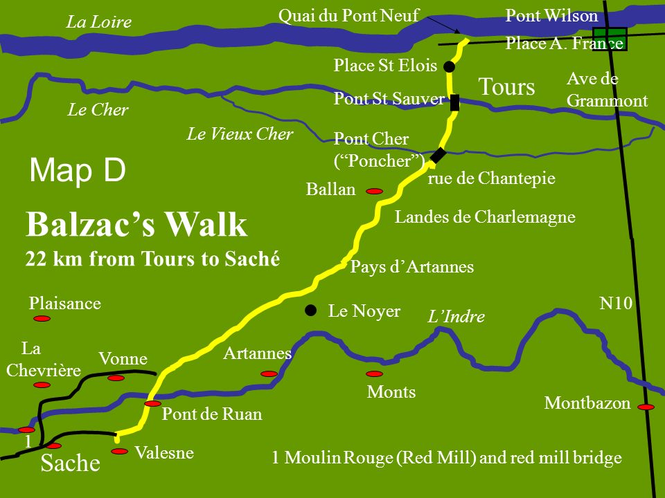 Balzac's Walk Map D Tours Sache 22 km from Tours to Saché