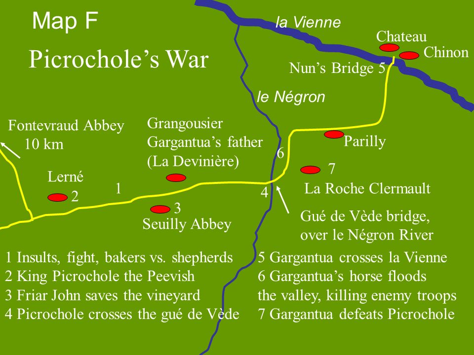 Picrochole's War Map F la Vienne Chateau Chinon Nun's Bridge 5