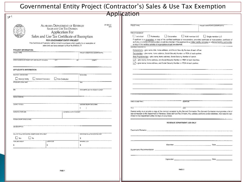Contractors exemption legislative act no ppt download 15 governmental entity project contractors sales use tax exemption application 1betcityfo Image collections