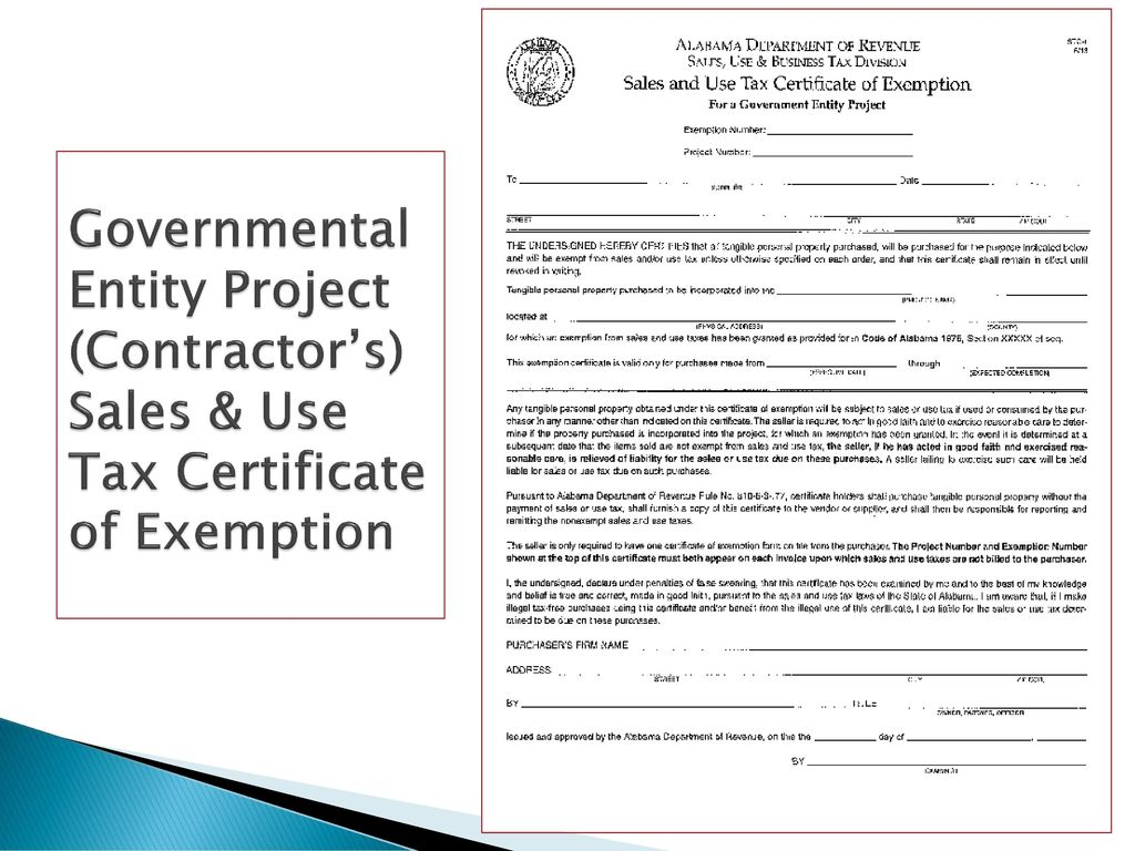 Contractors exemption legislative act no ppt download 16 governmental entity project contractors sales use tax certificate of exemption 1betcityfo Choice Image