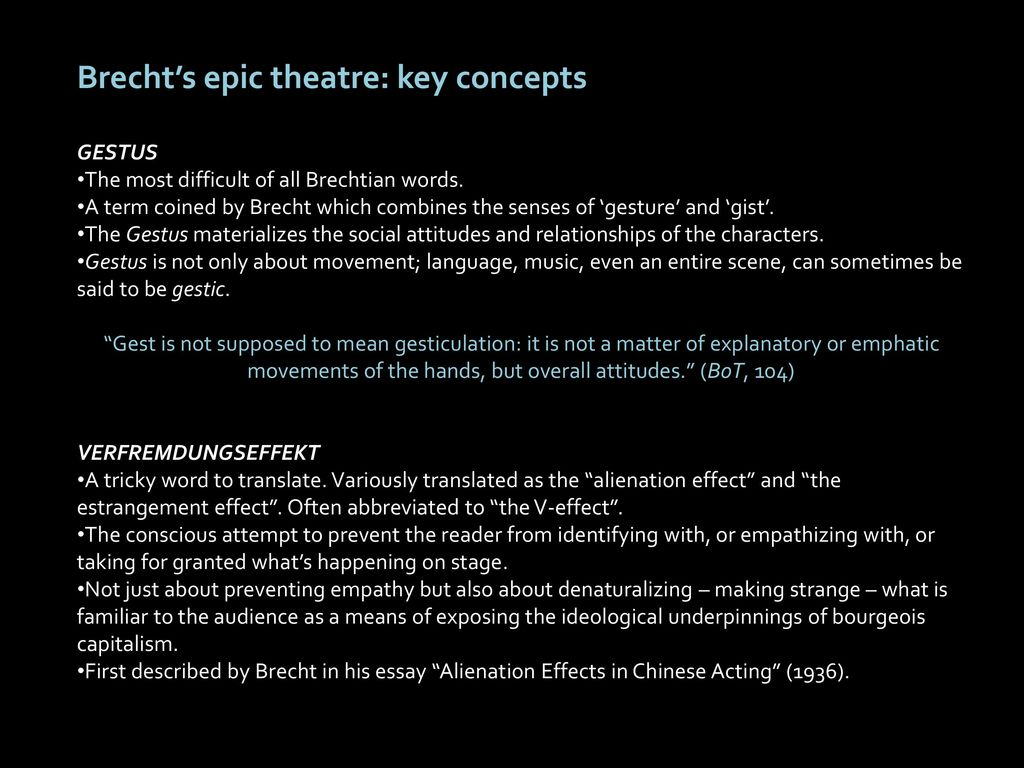 bertolt brecht alienation effect essay Essay writing guide learn the art direct addressing to the audience adds to brecht's intention of the alienation effect (the good person of szechwan.