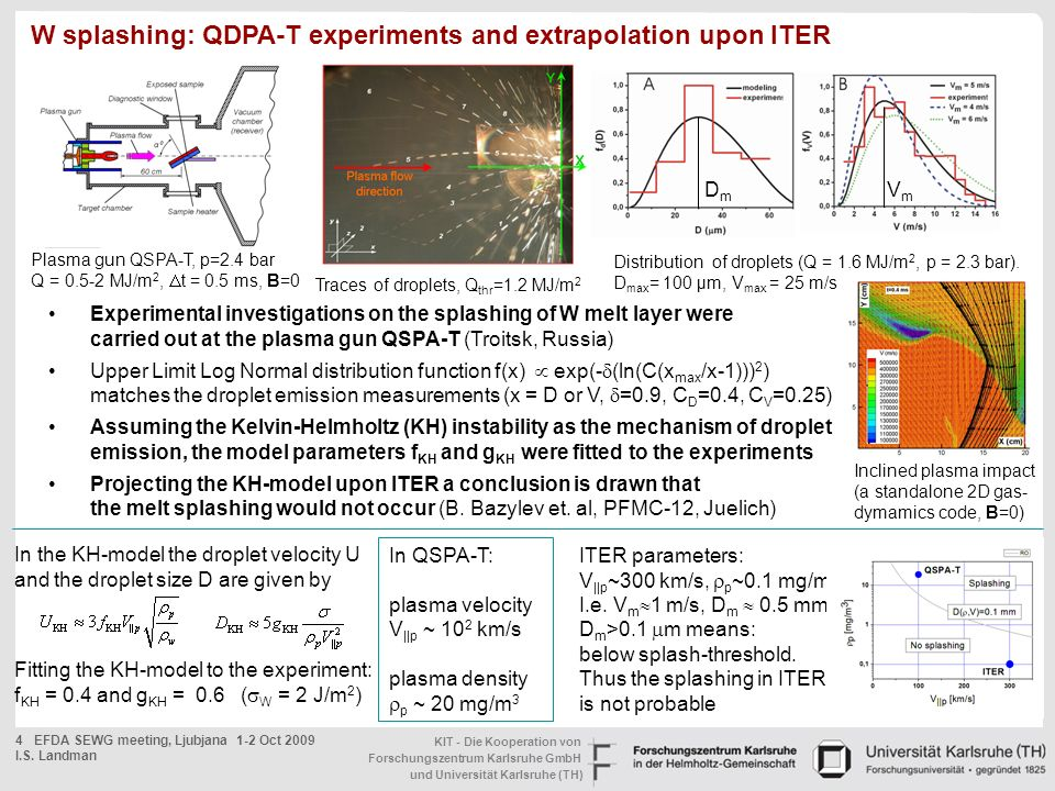 W splashing: QDPA-T experiments and extrapolation upon ITER