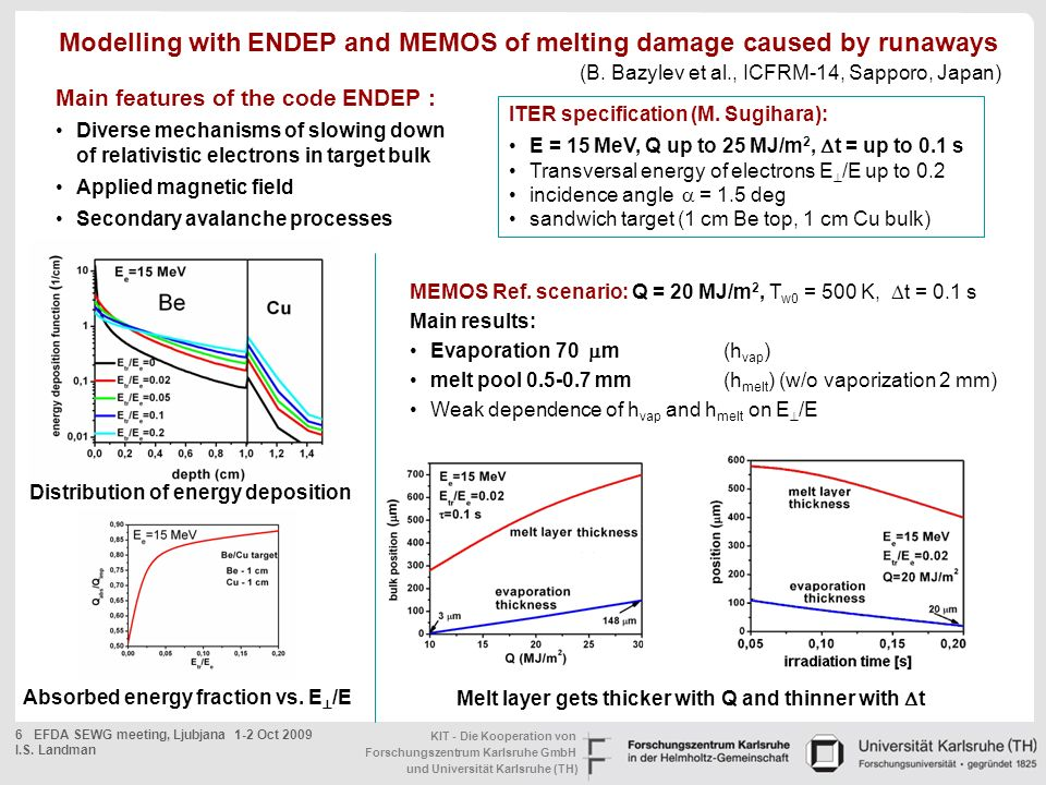 Modelling with ENDEP and MEMOS of melting damage caused by runaways