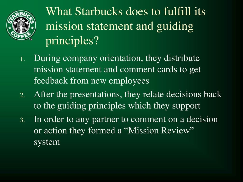 """starbucks coffee mission and vision statement Starbucks coffee 1st store in 1971 opened by 3  partners  mission of starbucks """" to inspire and nurture the human spirit   vision statement of starbucks  """" establish starbucks as the."""