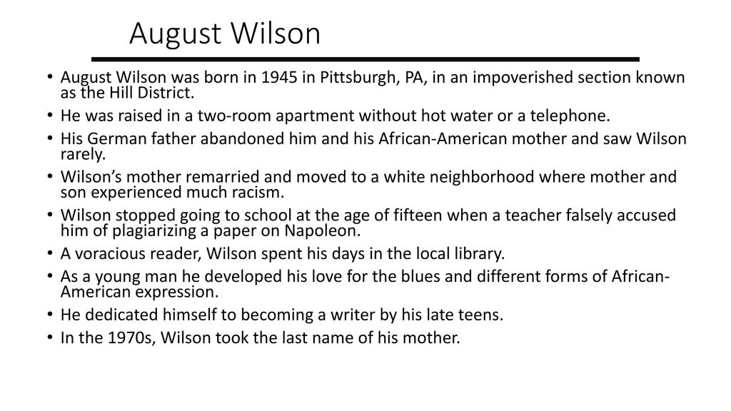 "character analysis of august wilsons fences Critical analysis of august wilson's ""fences not allowed to use ""fences"" as the title of research paper three sources on works cited page (alphabetized) use some quotes."